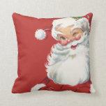 Jolly Winking Santa Claus, Vintage Christmas Pillow