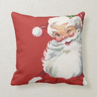 Jolly Winking Santa Claus, Vintage Christmas Throw Pillow