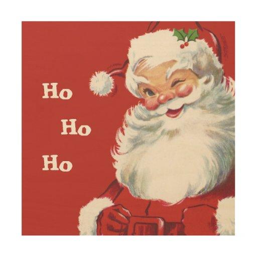 Jolly winking santa claus vintage christmas wood wall art