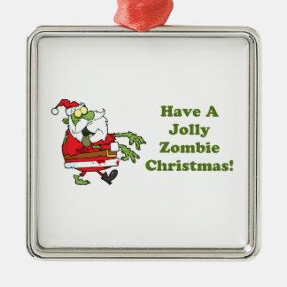 Jolly Zombie Christmas Metal Ornament