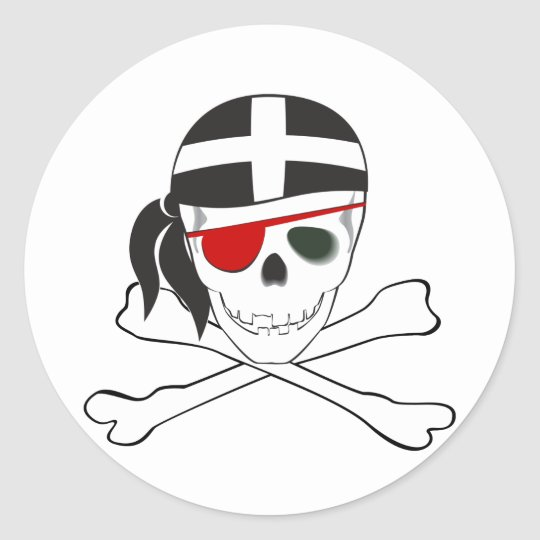 JollyRoger wearing Cornish Flag Classic Round Sticker