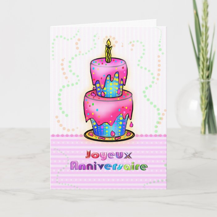 Pleasing Jolyeux Anniversaire French Happy Birthday Cake Card Zazzle Com Personalised Birthday Cards Paralily Jamesorg