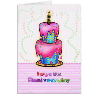 Jolyeux Anniversaire French Happy Birthday Cake Greeting Card