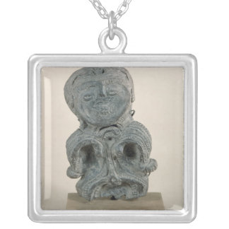Jomon figurine silver plated necklace