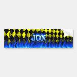 Jon blue fire and flames bumper sticker design car bumper sticker