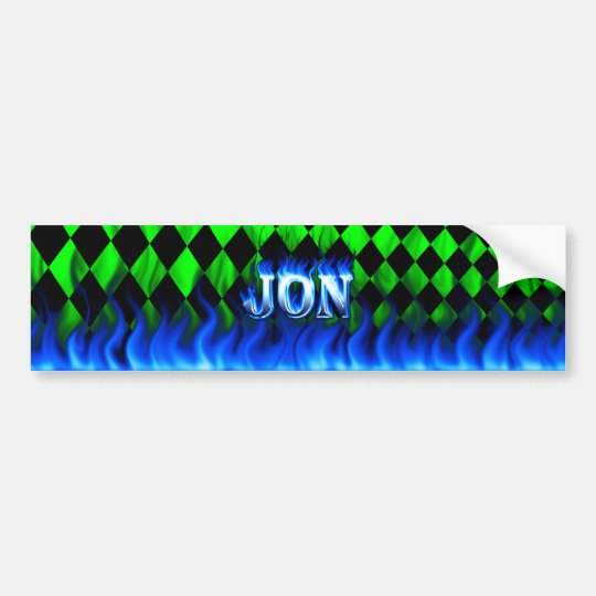 Jon blue fire and flames bumper sticker design