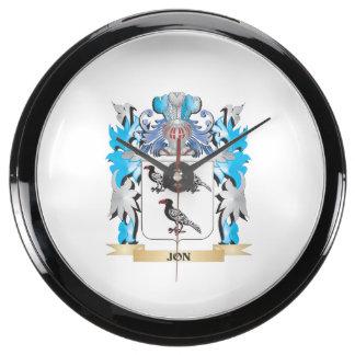 Jon Coat of Arms - Family Crest Fish Tank Clock