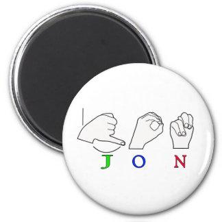JON FINGERSPELLED NAME ASL SIGN 2 INCH ROUND MAGNET