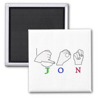 JON FINGERSPELLED NAME ASL SIGN 2 INCH SQUARE MAGNET