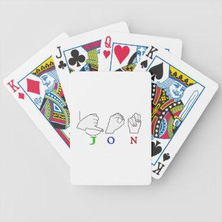 JON FINGERSPELLED NAME ASL SIGN BICYCLE CARD DECK