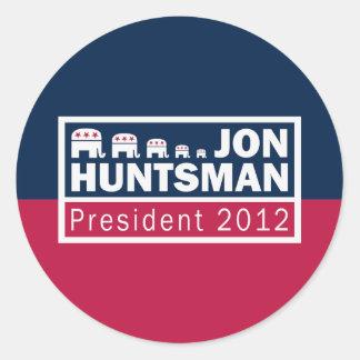 Jon Huntsman President 2012 Republican Elephant Classic Round Sticker
