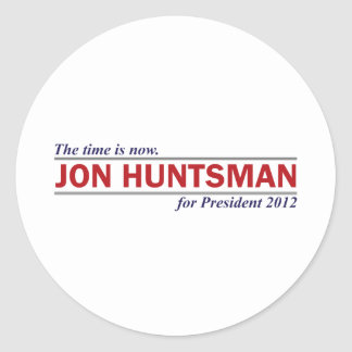 Jon Huntsman The Time is Now President 2012 Classic Round Sticker