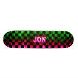Jon pink fire Skatersollie skateboard.