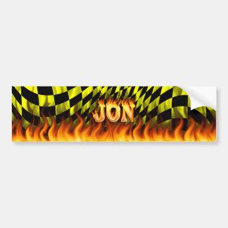 Jon real fire and flames bumper sticker design.