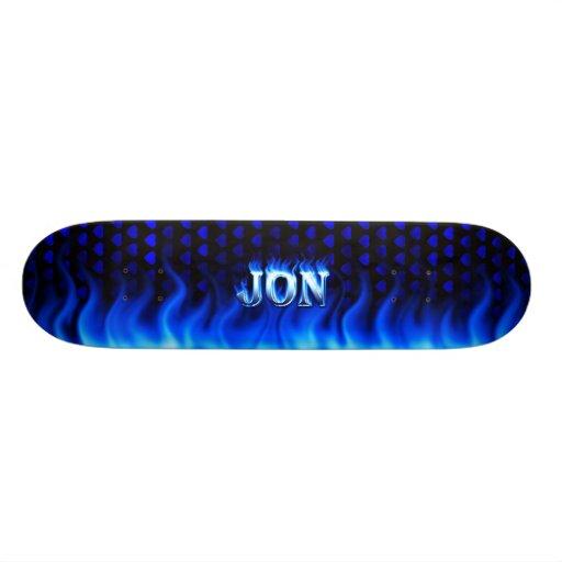 Jon skateboard blue fire and flames design