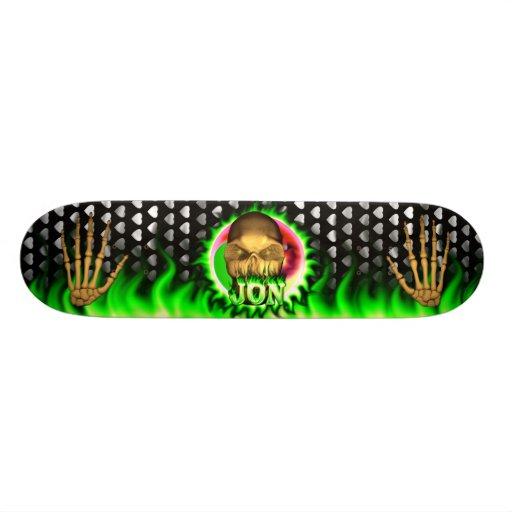 Jon skull green fire Skatersollie skateboard. Skate Deck
