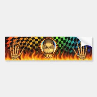 Jon skull real fire and flames bumper sticker desi