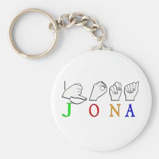 JONA FINGERSPELLED ASL NAME SIGN KEY CHAIN