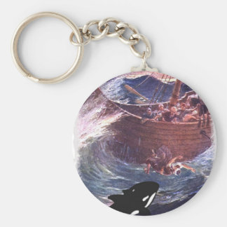 Jonah 1:17 - Jonah and the Whale Basic Round Button Keychain