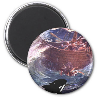 Jonah 1:17 - Jonah and the Whale 2 Inch Round Magnet