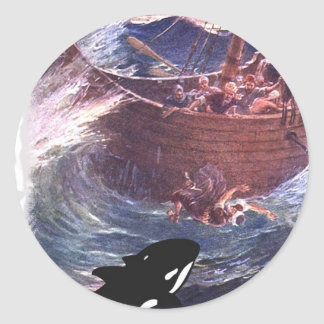 Jonah 1:17 - Jonah and the Whale Classic Round Sticker