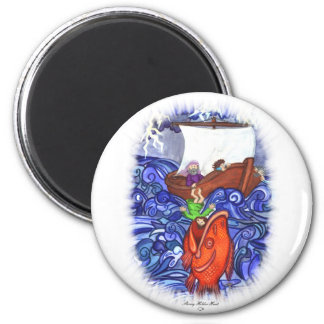 Jonah and the Big Fish 2 Inch Round Magnet
