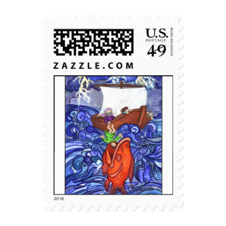 Jonah and the Big Fish postage - Customized small