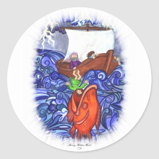 Jonah and the Big Fish Classic Round Sticker