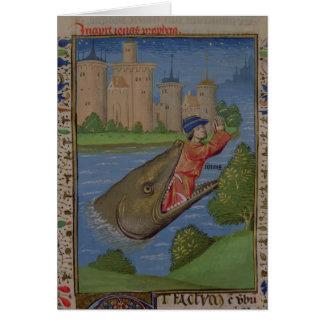 Jonah and the Whale, from the Bible of Jean XXII Card