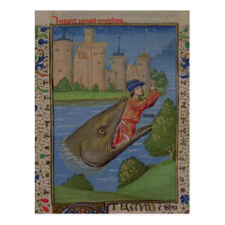 Jonah and the Whale, from the Bible of Jean XXII Postcard