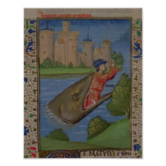 Jonah and the Whale, from the Bible of Jean XXII Poster