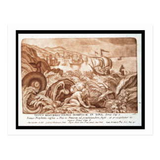 Jonah and the Whale, illustration from a Bible, en Postcard