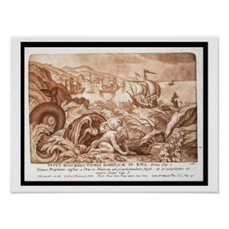 Jonah and the Whale, illustration from a Bible, en Poster