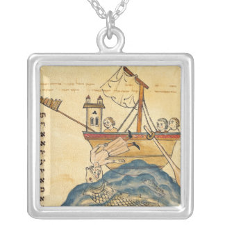 Jonah Eaten by the Whale Square Pendant Necklace