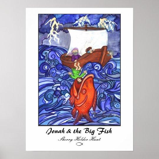 Jonah the big fish print customized poster zazzle for Big fish printing