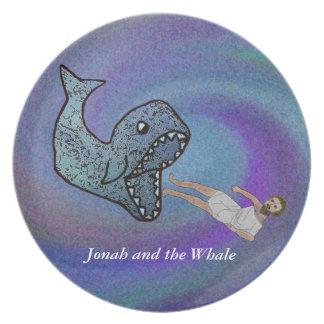 Jonah y la placa de la ballena plato de comida