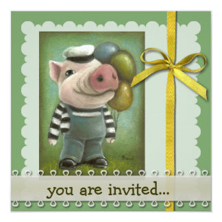 """Jonatán el cerdo invitación 5.25"""" x 5.25"""""""