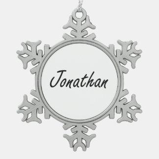 Jonathan Artistic Name Design Snowflake Pewter Christmas Ornament