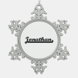 Jonathan Classic Retro Name Design Snowflake Pewter Christmas Ornament