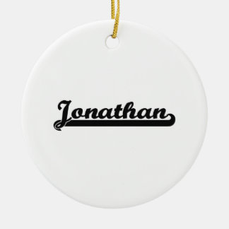 Jonathan Classic Retro Name Design Double-Sided Ceramic Round Christmas Ornament