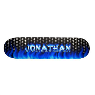 Jonathan skateboard blue fire and flames design