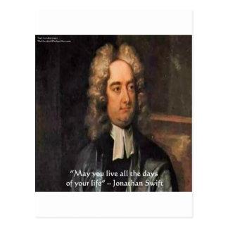 Jonathan Swift Live Life Humor Quote Postcard