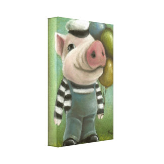 Jonathan the pig stretched canvas prints