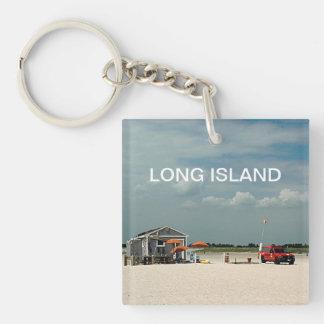 Jones Beach Umbrella Stand Double-Sided Square Acrylic Keychain