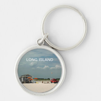 Jones Beach Umbrella Stand Silver-Colored Round Keychain