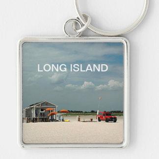 Jones Beach Umbrella Stand Silver-Colored Square Keychain