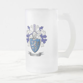 Jones Coat of Arms Frosted Glass Beer Mug