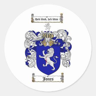 JONES FAMILY CREST -  JONES COAT OF ARMS CLASSIC ROUND STICKER