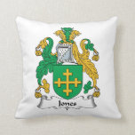 Jones Family Crest Throw Pillow