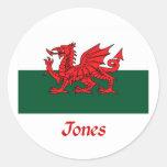 Jones Welsh Flag Classic Round Sticker